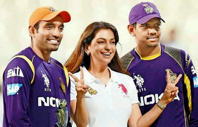 Juhi Chawla Bollywood Celebrity Clothing in IPL 2014