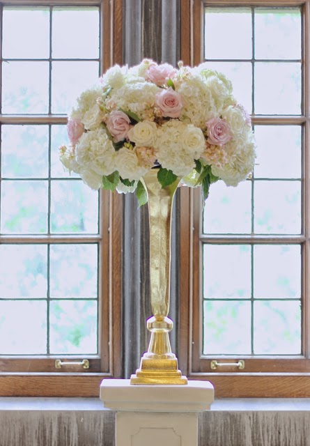 Sweet Pea Floral Design Detroit Ann Arbor U of M Union pendleton wedding ceremony large flower arrangements on stone pedestals in gold art deco trumpet vases white hydrangea blush roses