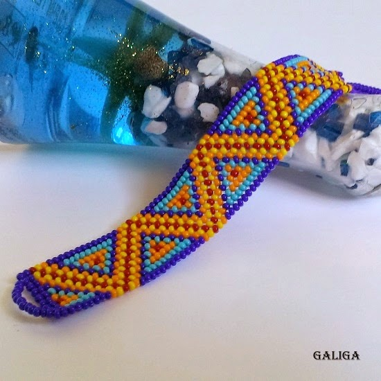 ethnic style beaded jewelry-colorful seed bead bracelet-bright cuff-celestial triangles-blue-yellow-tangerine-red