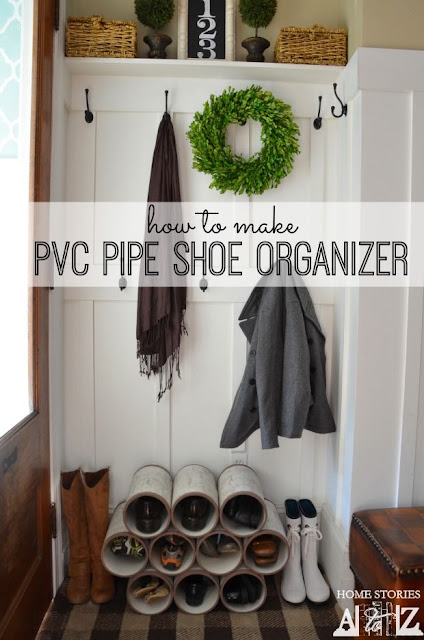 Organize shoes in the entry with PVC pipe :: OrganizingMadeFun.com