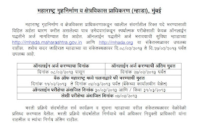 MHADA Recruitment 2013 Details, Challan, Group A,B,C,D