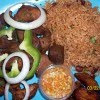 Rice ,fried pork with onions with peppers