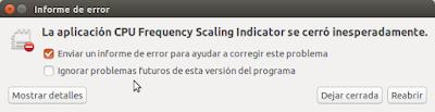 Informe de error  indicator-cpufreq