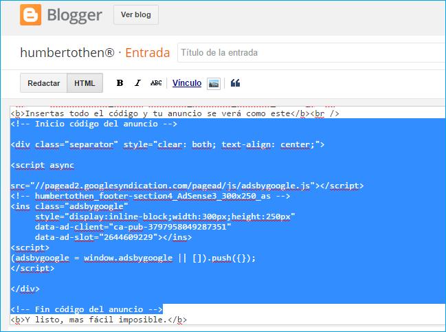 poner anuncios de Adsense en una entrada de Blogger