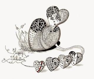dibujar garabatos zentangles de corazones