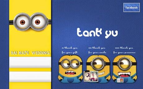 Các nhân vật hoạt hình Minion trong thiệp cưới facebook càng làm tấm thiệp thêm dí dỏm