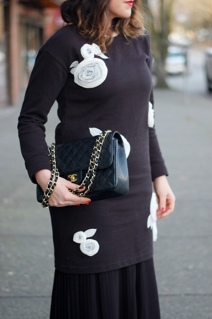 424 FIFTH rose applique sweater dress outfit