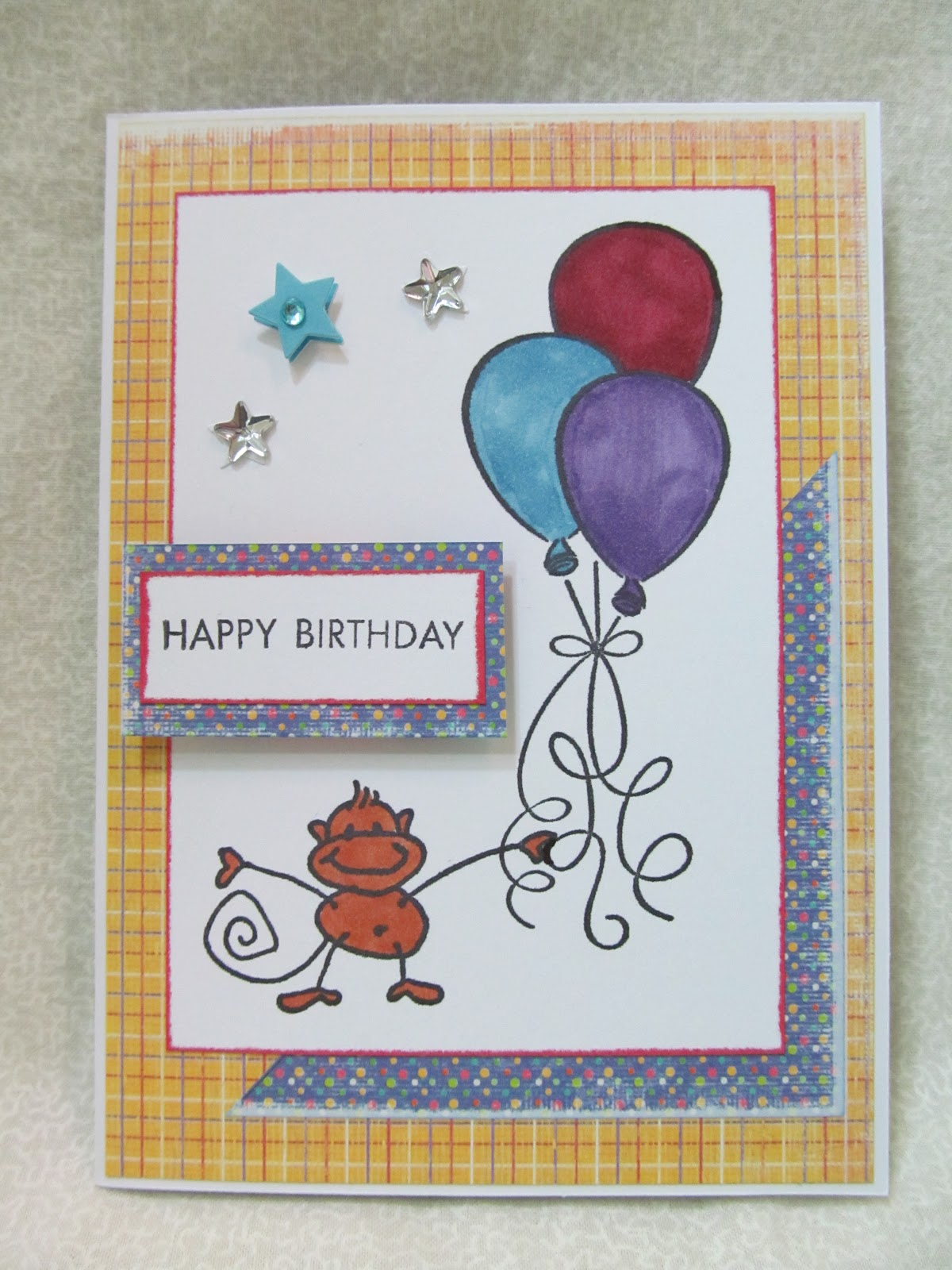Savvy Handmade Cards Birthday Monkey Card
