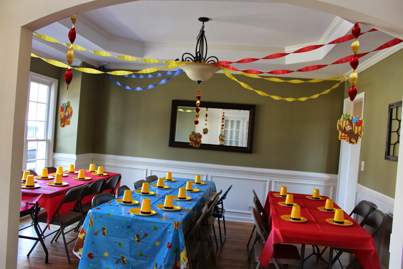 We borrowed tables and chairs from family (thanks!!) and my cousins did the streamer hanging. I stuck with the blue red and yellow color ... & David + Jen \u003d Max: Max\u0027s Curious George 2nd Birthday Party!