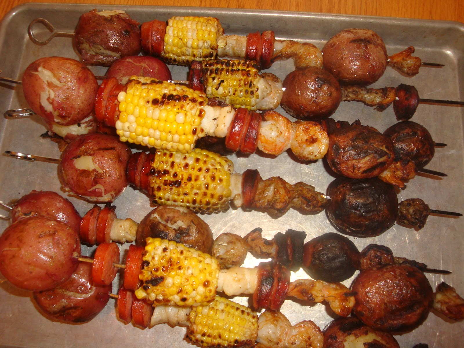 Cooking with the Clouds: Grilled Shrimp Boil Kabobs