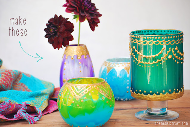 Diy moroccan candle holders from glass jars paint for Diy candle crafts