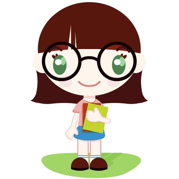 Pequeña escolar con libros