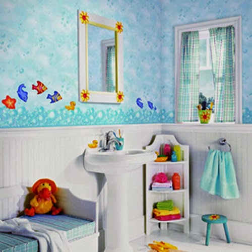 Celebrity homes amazing kids bathroom wall d cor ideas for Kids bathroom ideas for boys