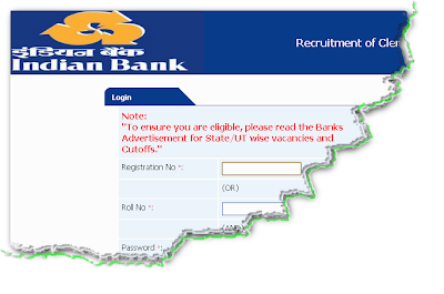 Indian Bank Clerk Recruitment 2012 Online Form
