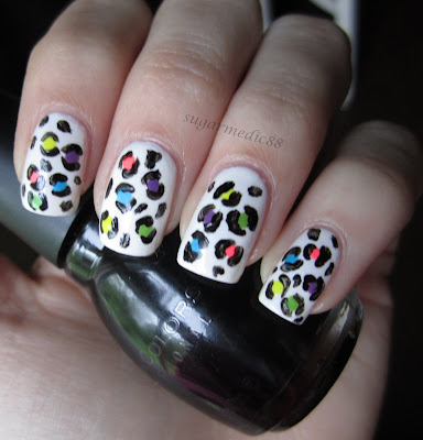 80s Neon Bright Leopard Print Nails
