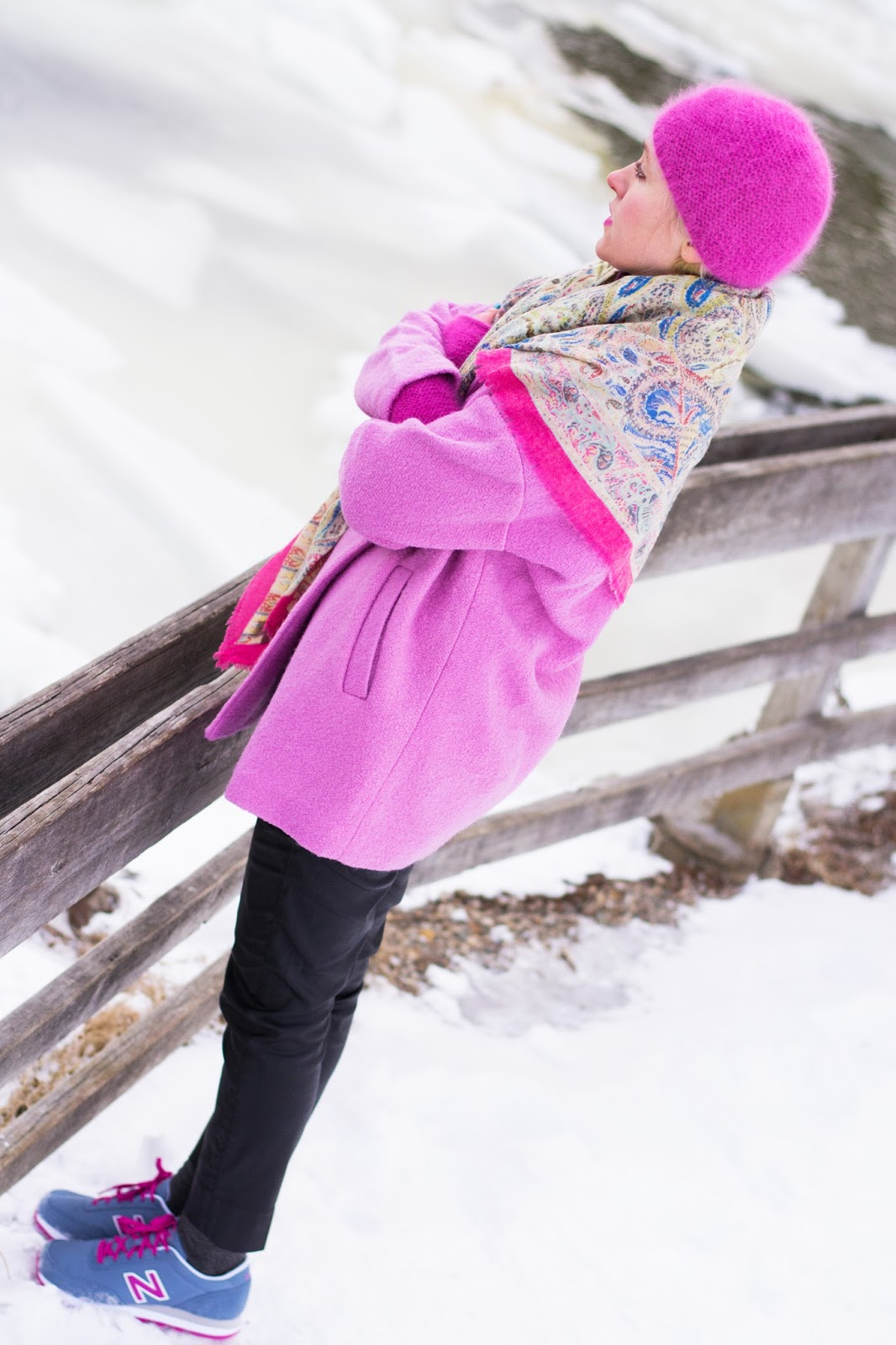 how to wear brights in winter