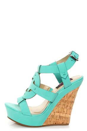 Adorable Teal T-Strap Platform Wedge Sandals