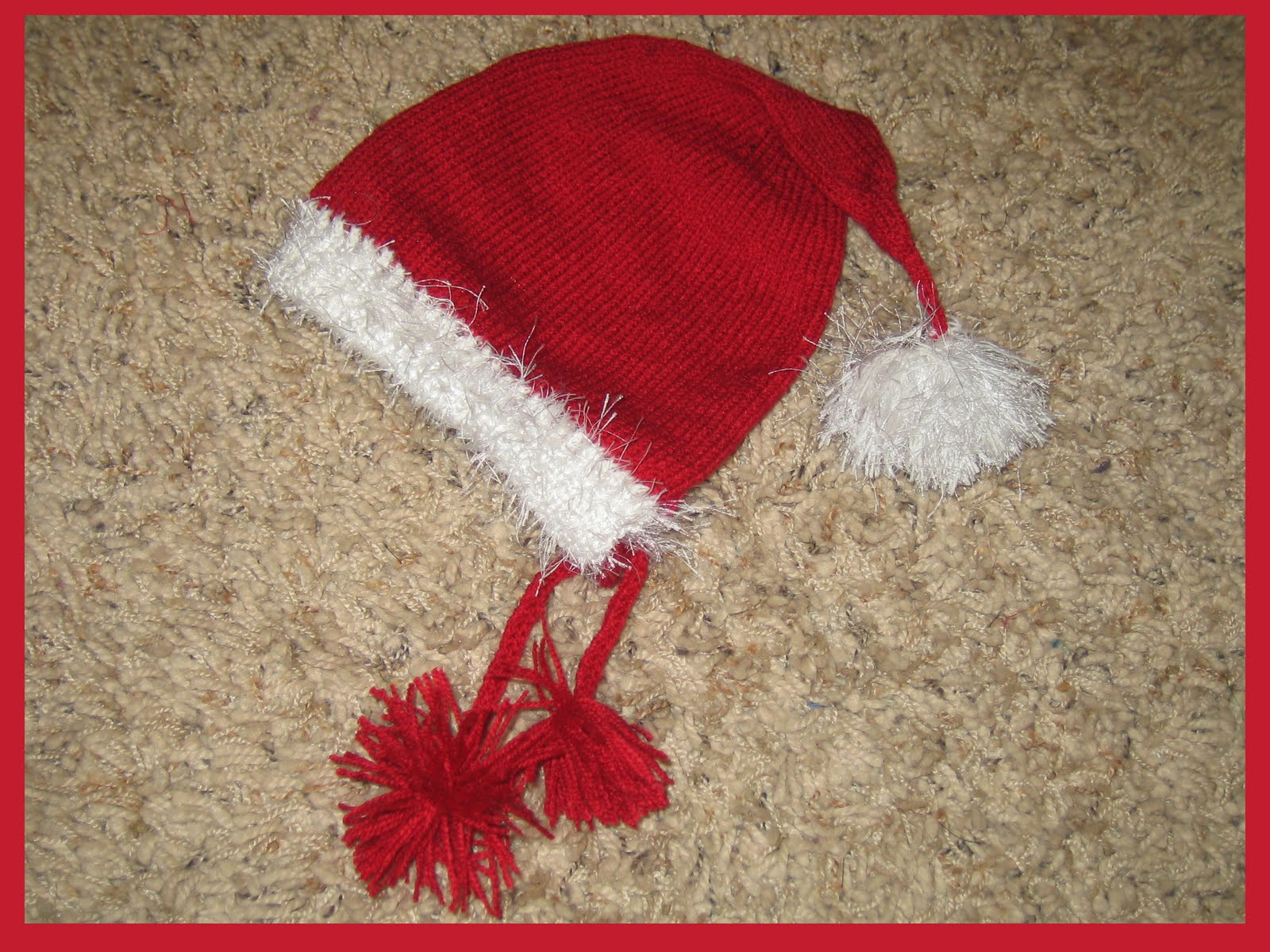 Knit Santa Hat Pattern : Marzipanknits: Free machine knit pattern for a baby Santa hat