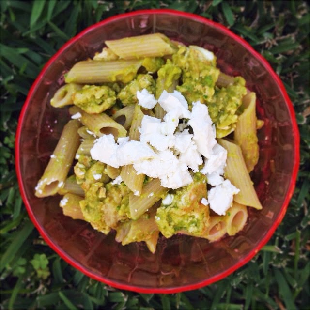 Pasta with Grilled Chicken, Avocado and Feta