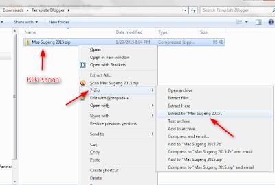 Ekstrak file .zip template