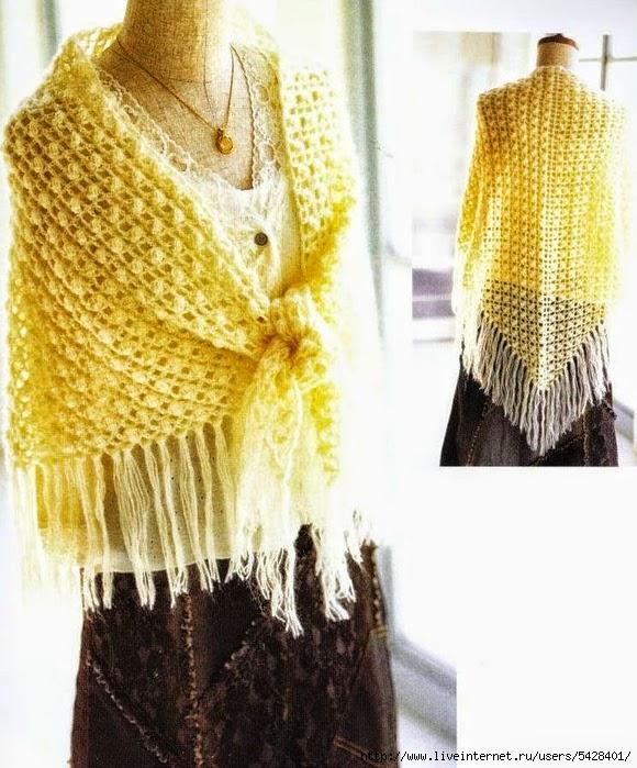 Mantón amarillo con flecos tejido con ganchillo con patrón