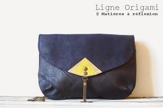 Mini-sacs Pochette cuir Matières à réflexion jaune/bleu marine