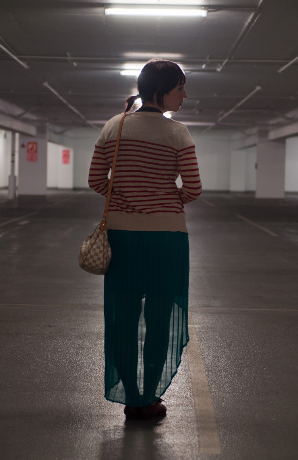 fashion blogger, ootd, mens fashion blog, womens fashion blog, home t, arizona, bdg. bdg, anchor, stripes, pleated skirt, teal skirt, american apparel, louis vuitton, louis vuitton crossbody, siracusa mm, damier, louis vuitton handbag, target, naya, nordstrom, target skirt, oxford, anthropologie ootd, mac, mac lipstick, mac sheen lipstick, parking garage, salt lake city, utah blogger, utah fashion blogger, mormon blogger, mormon clothing blogger, red and white stripes, city creek mall, see thru skirt, leather,