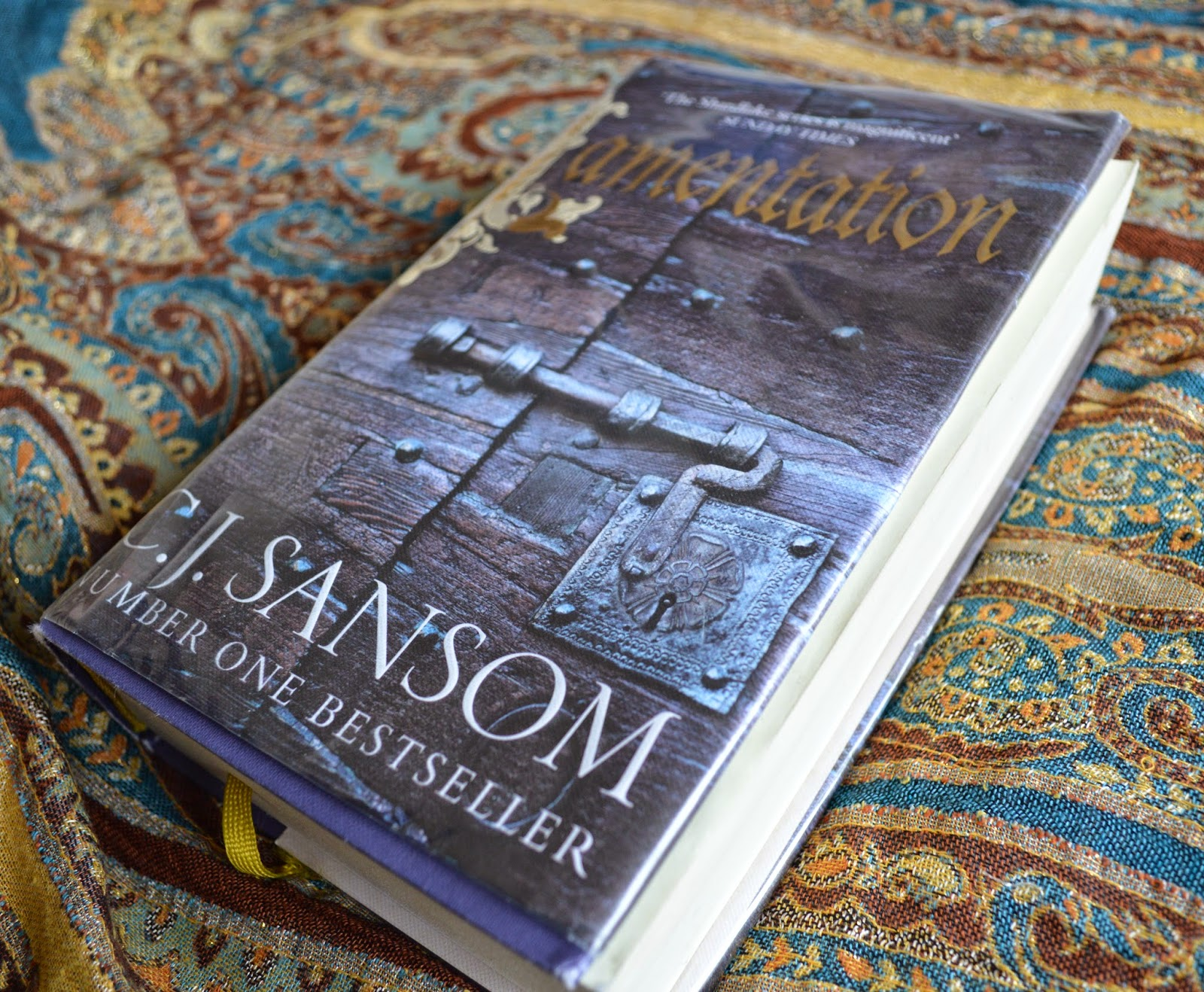 C J Sansom, Lamentation, book review, 6, Shardlake series, Tudor, Historical fiction, book review, hardback, book cover, religious reform, Henry VII, Catherine Parr, mystery, detective,