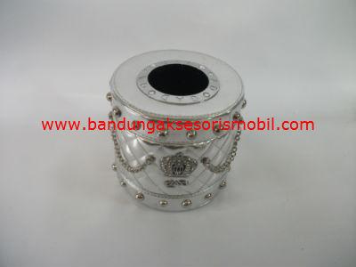 Box Tissue Bulat Mahkota Berlian Silver