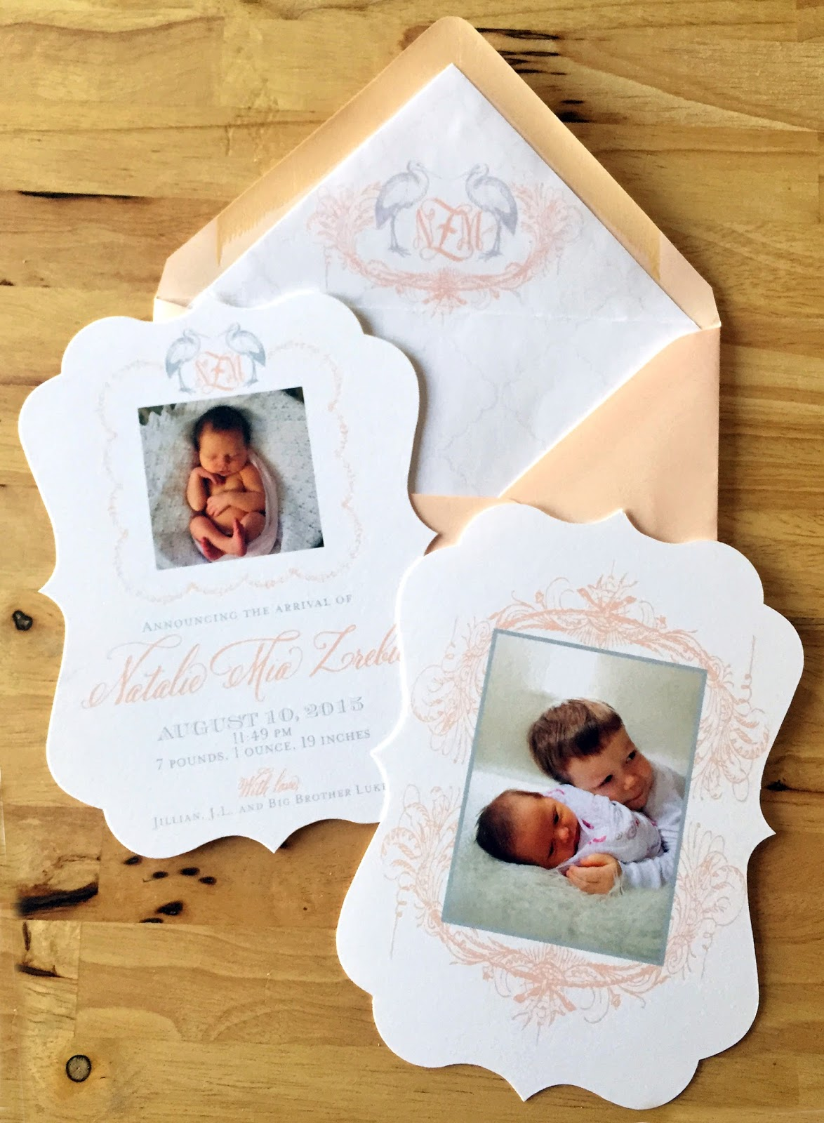 Nico and LaLa The Art of the Custom Birth Announcement – Tri Fold Birth Announcement