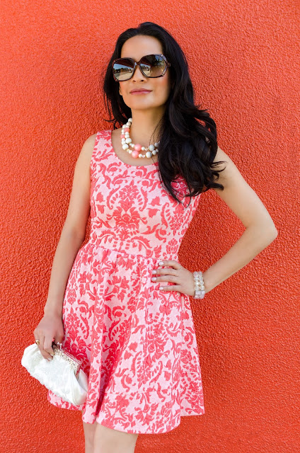 Coral and Pink Love...Ady Fleur De Lis Skater Fit and Flare Dress Brown Gucci Bamboo Glasses White Embroidered Purse Pink and White Bead Necklace Iridescent bead bracelet