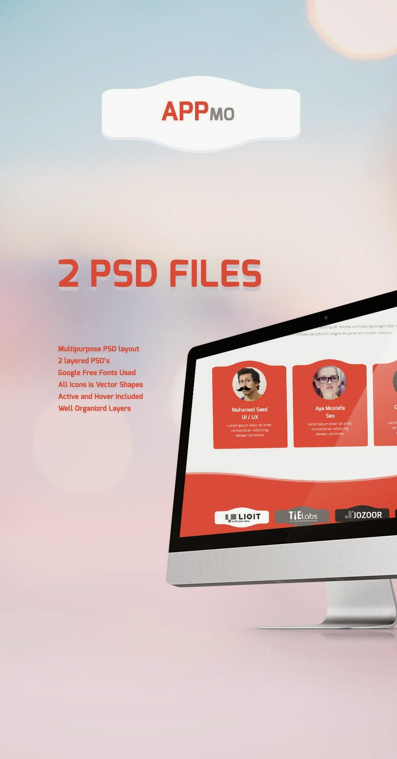 Free One Page App Landing Page PSD