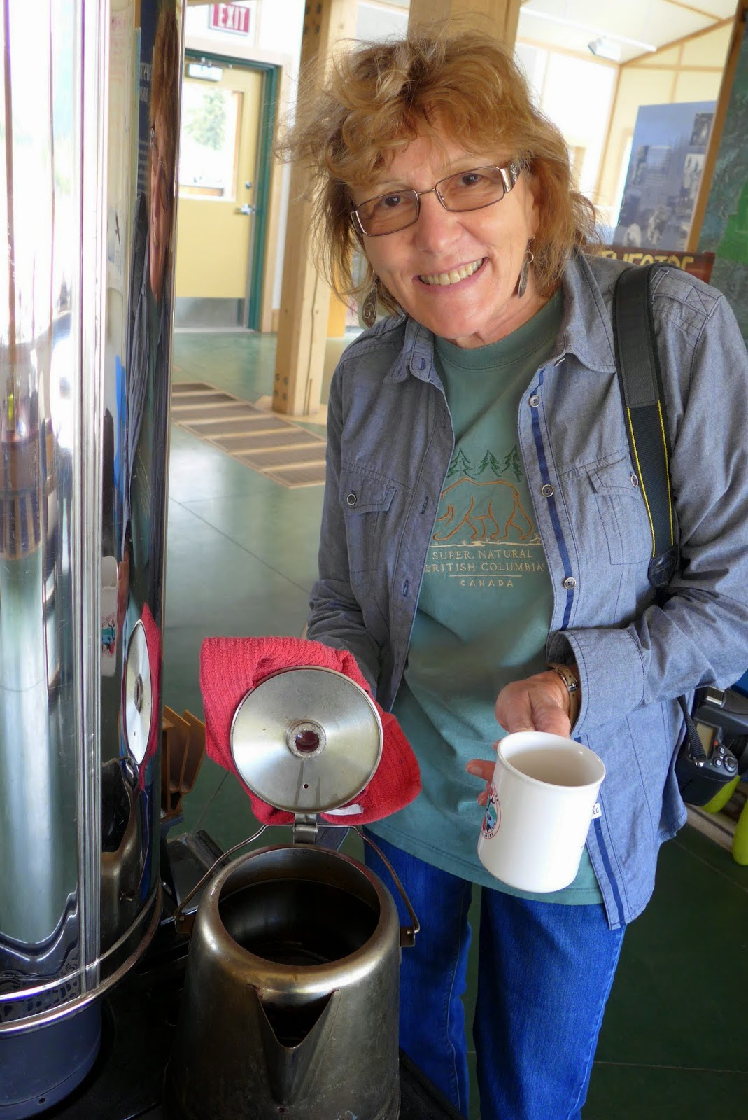 Liz enjoying a cup of herbal tea at the Tombstone Territorial Park Visitor Center.