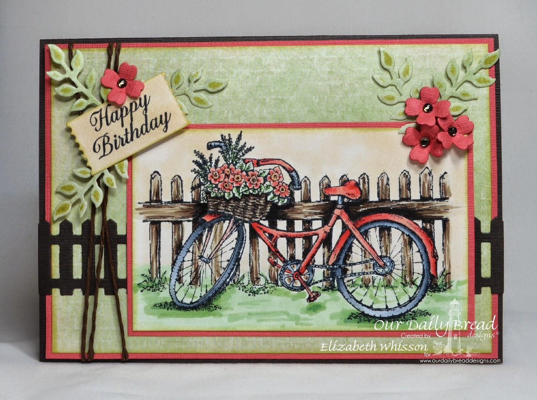 Our Daily Bread Designs, Bicycle, Ornate Border Sentiments, ODBD Fence Die, ODBD Mini Tag Dies, ODBD Ornamental Crosses Dies, ODBD Fancy Foliage Dies, Designed by Elizabeth Whisson
