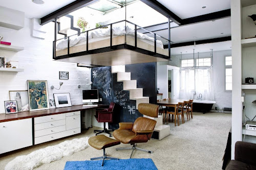 Suspended Bed in Small Urban Apartment