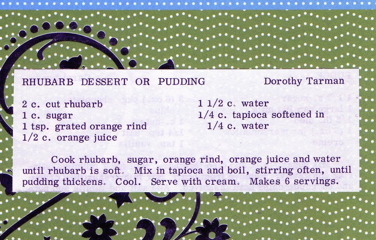 Rhubarb Dessert or Pudding (quick recipe)
