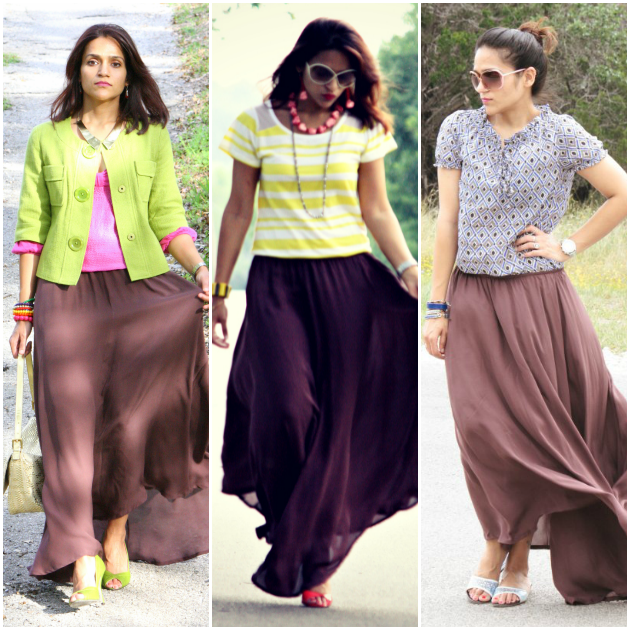 Three Ways To Style A Long Skirt, Tanvii.com