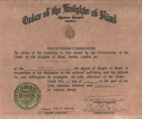 Guenther Vomberg 's Knighthood Certificate of the Order