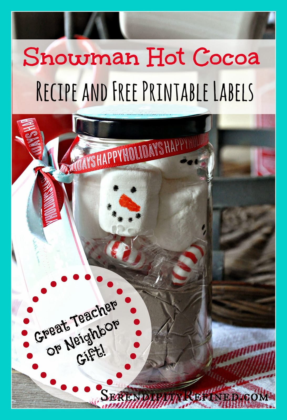 christmas mason jar hot cocoa gift and printable