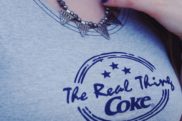 coca cola, crop, shirt, logo, hipster, blogger, coke, motive, print, the real thing