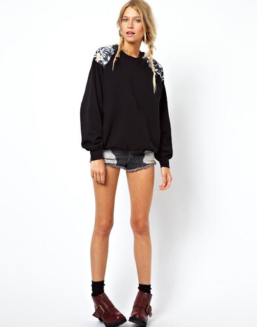 black jumper with shoulder pattern