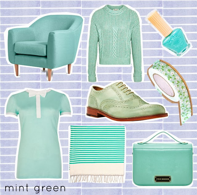 collage of mint green/pastel items