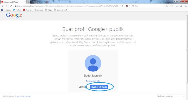 Buat akun profil Google plus
