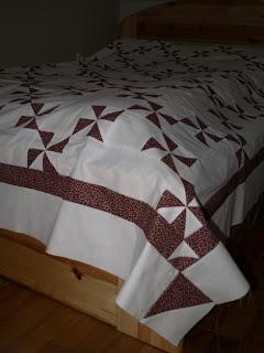 Patchwork ágytakaró, szélforgó blokk