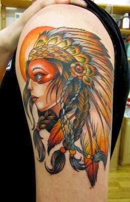 tatuagem feminina de india no ombro
