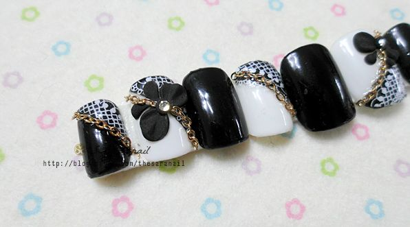 Sara Nail Black Lace Nail Art With Chain Stone