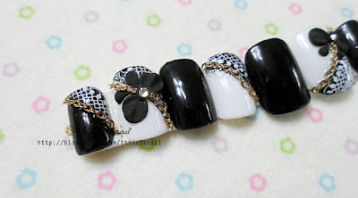 Black Lace Nail Art with Chain Stone