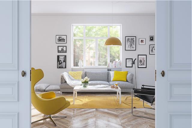 ruang tamu dengan aksen warna kuning