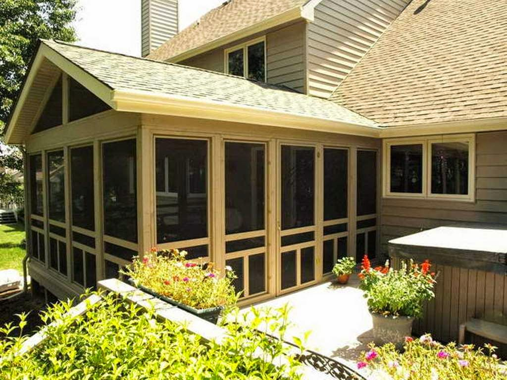 Screened In Porch Ideas Design enclosed porch with exposed rafters and stone fireplace hearth Back Porch Ideas