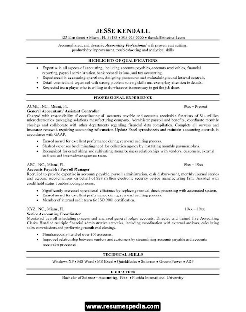 Accountant Sample Cv